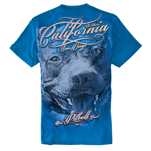 T-shirt PIT BULL WEST COAST California Dog blue