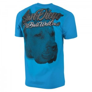 T-shirt PIT BULL WEST COAST San Diego Dog surfer blue