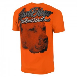 T-shirt PIT BULL WEST COAST San Diego Dog orange