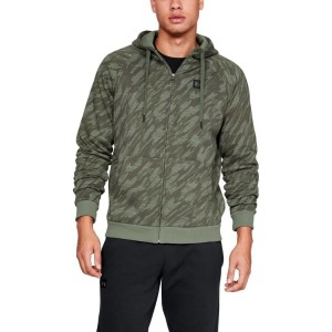Bluza rozpinana z kapturem UNDER ARMOUR Rival Fleece Camo FZ Hoodie zielona