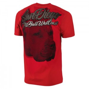 T-shirt PIT BULL WEST COAST San Diego Dog red