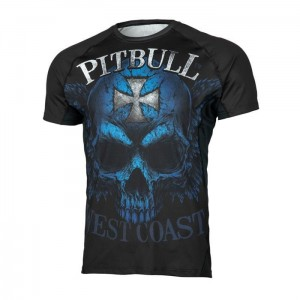 Rashguard Mesh PIT BULL WEST COAST Performance Pro Blue Skull