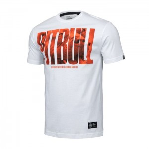 T-shirt PIT BULL WEST COAST Orange Dog 19 biały