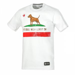 T-shirt PIT BULL WEST COAST CALIFORNIA FLAG white