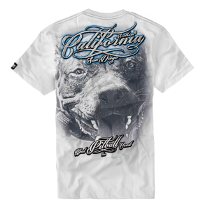 T-shirt PIT BULL WEST COAST California Dog white