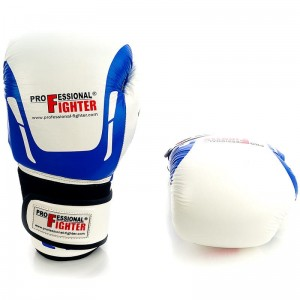 Rękawice bokserskie PROFESSIONAL FIGHTER Modern skóra white/blue